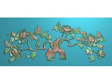 MDHN044-JDP格式中式牡丹浮雕图花鸟鱼虫电脑雕刻图牡丹花精雕图(含灰度图)