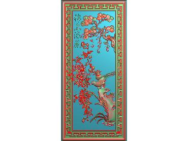 MDHN045-JDP格式中式牡丹浮雕图花鸟鱼虫电脑雕刻图牡丹花精雕图(含灰度图)
