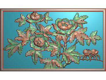 MDHN067-JDP格式中式牡丹浮雕图花鸟鱼虫电脑雕刻图牡丹花精雕图(含灰度图)