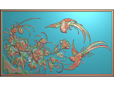 MDHN171-JDP格式中式牡丹浮雕图花鸟鱼虫电脑雕刻图牡丹花精雕图(含灰度图)