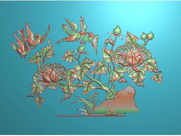 MDHN177-JDP格式中式牡丹浮雕图花鸟鱼虫电脑雕刻图牡丹花精雕图(含灰度图)