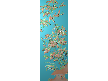 MDHN207-JDP格式中式牡丹浮雕图花鸟鱼虫电脑雕刻图牡丹花鸟精雕图