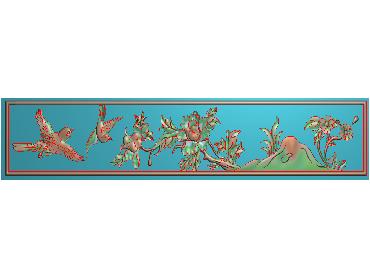 MDHN289-JDP格式中式牡丹浮雕图花鸟鱼虫电脑雕刻图牡丹花鸟精雕图