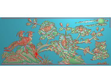 MDHN294-JDP格式中式牡丹浮雕图花鸟鱼虫电脑雕刻图牡丹花鸟精雕图