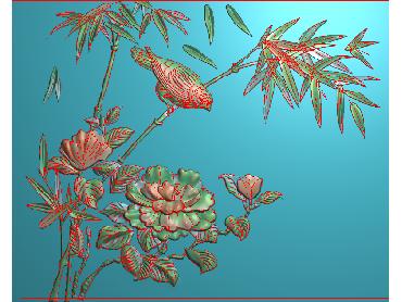 MDHN295-JDP格式中式牡丹浮雕图花鸟鱼虫电脑雕刻图牡丹花鸟精雕图