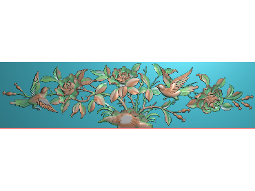 MDHN301-JDP格式中式牡丹浮雕图花鸟鱼虫电脑雕刻图牡丹花鸟精雕图