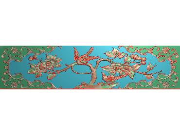 MDHN302-JDP格式中式牡丹浮雕图花鸟鱼虫电脑雕刻图牡丹花鸟精雕图