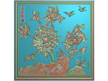 MDHN337-JDP格式中式牡丹浮雕图花鸟鱼虫电脑雕刻图牡丹花鸟精雕图