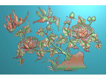 MDHN348-JDP格式中式牡丹浮雕图花鸟鱼虫电脑雕刻图牡丹花鸟精雕图
