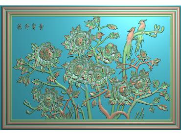 MDHN366-JDP格式中式牡丹浮雕图花鸟鱼虫电脑雕刻图牡丹花鸟精雕图