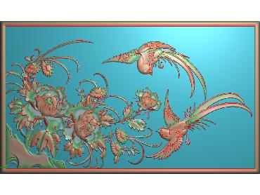 MDHN378-JDP格式中式牡丹浮雕图花鸟鱼虫电脑雕刻图牡丹花鸟精雕图