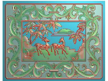 ZWHN050-JDP格式中式鹿中式浮雕图鹿电脑激光雕刻图鹿精雕图