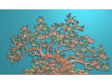 ZWHN169-JDP格式中式花鸟鱼虫浮雕图植物花鸟电脑雕刻图花草精雕图(含灰度图)