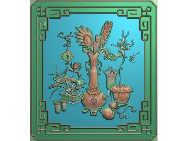 ZWHN176-JDP格式中式花鸟鱼虫浮雕图植物花鸟电脑雕刻图花草精雕图(含灰度图)