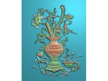 ZWHN192-JDP格式中式花鸟鱼虫浮雕图植物花鸟电脑雕刻图花草精雕图(含灰度图)