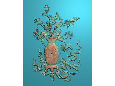 ZWHN202-JDP格式中式花鸟鱼虫浮雕图植物花鸟电脑雕刻图花草精雕图(含灰度图)