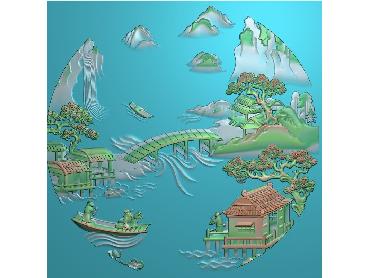 SSFJ019-JDP格式中式圆形山水中式山水风景浮雕图圆形山水电脑激光雕刻图圆形山水精雕图