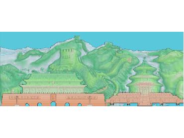 SSFJ041-JDP格式中式长城故宫天安门中式山水风景浮雕图长城故宫天安门电脑激光雕刻图长城故宫天安门精雕图