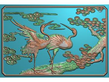 SH005-JDP格式中式松鹤浮雕图花鸟电脑雕刻图花鸟鱼虫精雕图(含灰度图)
