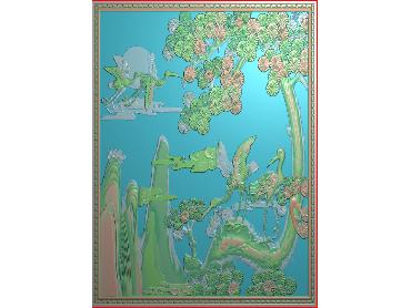 SH079-JDP格式中式松鹤浮雕图花鸟电脑雕刻图花鸟鱼虫精雕图(含灰度图)