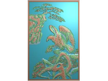SH124-JDP格式中式松鹤浮雕图花鸟电脑雕刻图花鸟鱼虫精雕图