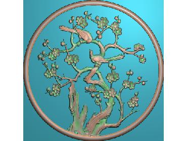 ZSYH003-JDP格式中式圆形浮雕图圆形洋花电脑雕刻图中式圆花精雕图圆花灰度图