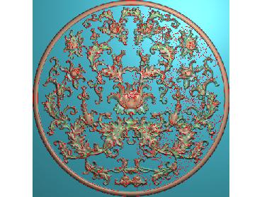 ZSYH008-JDP格式中式圆形浮雕图圆形洋花电脑雕刻图中式圆花精雕图圆花灰度图