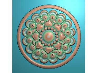 ZSYH010-JDP格式中式圆形浮雕图圆形洋花电脑雕刻图中式圆花精雕图圆花灰度图