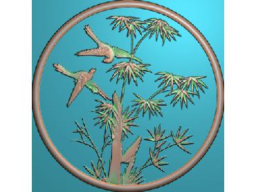 ZSYH027-JDP格式中式圆形浮雕图圆形洋花电脑雕刻图中式圆花精雕图圆花灰度图