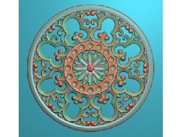ZSYH045-JDP格式中式圆形浮雕图圆形洋花电脑雕刻图中式圆花精雕图圆花灰度图
