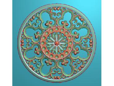 ZSYH052-JDP格式中式圆形浮雕图圆形洋花电脑雕刻图中式圆花精雕图圆花灰度图