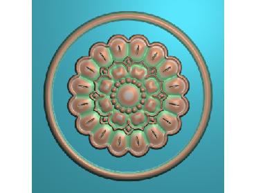 ZSYH053-JDP格式中式圆形浮雕图圆形洋花电脑雕刻图中式圆花精雕图圆花灰度图