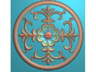 ZSYH073-JDP格式中式圆形浮雕图圆形洋花电脑雕刻图中式圆花精雕图圆花灰度图