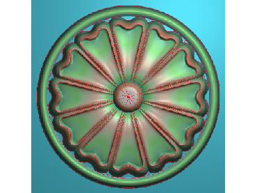 ZSYH075-JDP格式中式圆形浮雕图圆形洋花电脑雕刻图中式圆花精雕图圆花灰度图