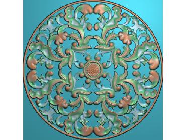 ZSYH087-JDP格式中式圆形浮雕图圆形洋花电脑雕刻图中式圆花精雕图圆花灰度图