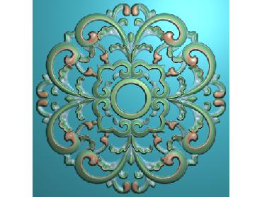 ZSYH088-JDP格式中式圆形浮雕图圆形洋花电脑雕刻图中式圆花精雕图圆花灰度图