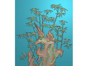 ZHU002-JDP格式中式竹子浮雕图梅兰竹菊电脑雕刻图竹子精雕图(含灰度图)