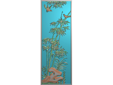 ZHU025-JDP格式中式竹子浮雕图梅兰竹菊电脑雕刻图竹子精雕图(含灰度图)