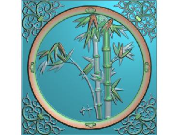 ZHU027-JDP格式中式竹子浮雕图梅兰竹菊电脑雕刻图竹子精雕图(含灰度图)