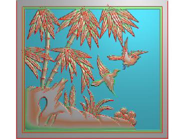 ZHU028-JDP格式中式竹子浮雕图梅兰竹菊电脑雕刻图竹子精雕图(含灰度图)