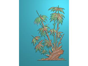 ZHU034-JDP格式中式竹子浮雕图梅兰竹菊电脑雕刻图竹子精雕图(含灰度图)