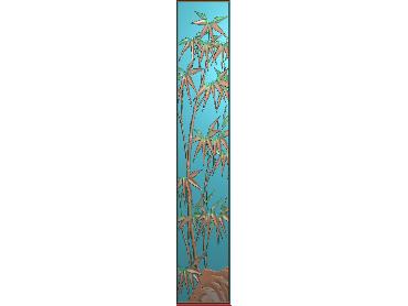 ZHU043-JDP格式中式竹子浮雕图梅兰竹菊电脑雕刻图竹子精雕图(含灰度图)